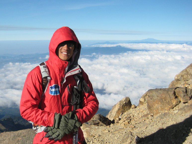 Steve Baskis stands for a photo atop of Mount Iztaccihuatl
